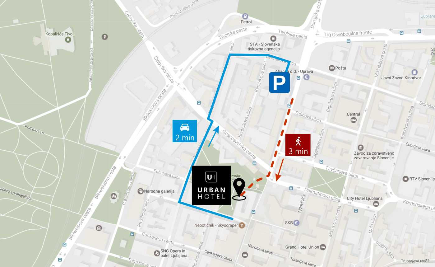 parking map urban hotel ljubljana